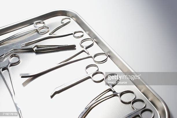 Tray of surgical scissors