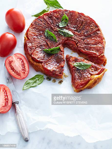 Tray of tomato tarte tatin