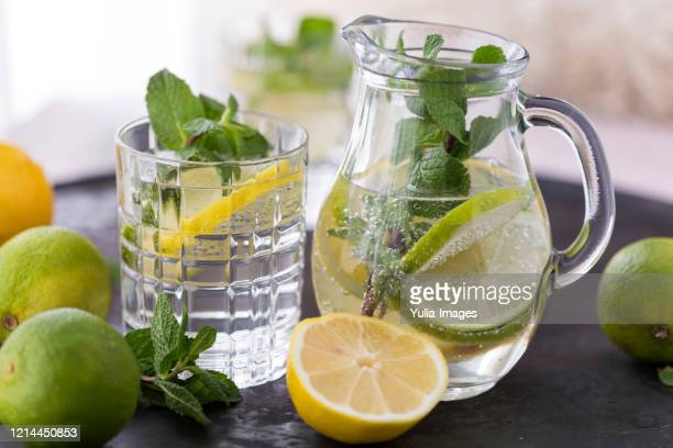 tray with glasses of fresh homemade lemonade - infused water stock pictures, royalty-free photos & images
