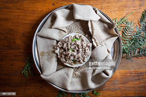 Tray with injera, a national dish in Ethiopia