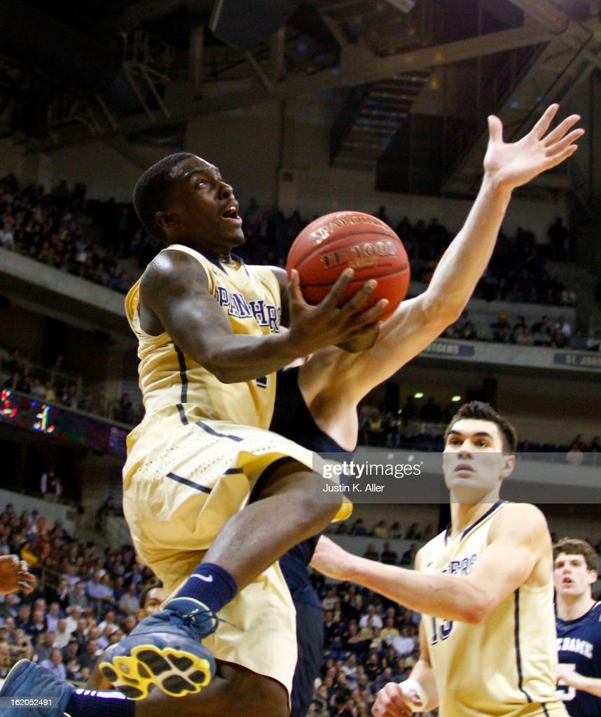 Tray Woodall #1 of the Pittsburgh Panthers drives to the basket against the Notre Dame Fighting Irish at Petersen Events Center on February 18, 2013 in Pittsburgh, Pennsylvania. Irish won 51-42.