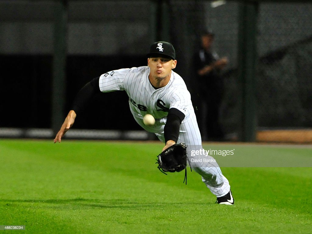 Trayce Thompson #28 of the Chicago White Sox can't catch a double hit by Brett Lawrie #15 of the Oakland Athletics during the ninth inning on September 14, 2015 at U.S. Cellular Field in Chicago, Illinois.