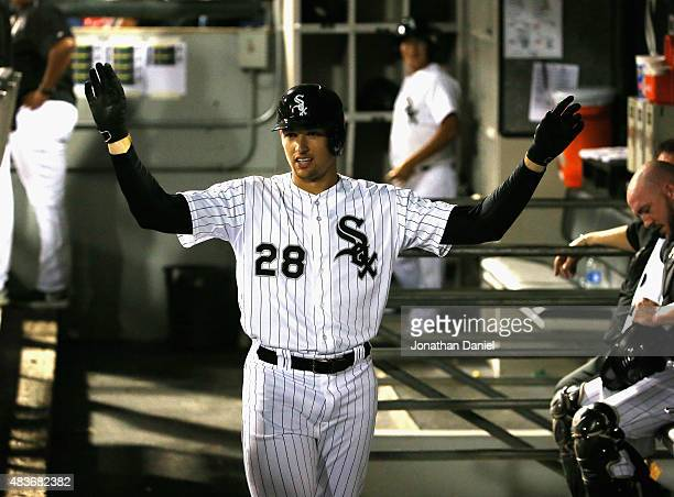 Trayce Thompson of the Chicago White Sox gets 'imaginary highfives' in the dugout as his teammates ignore him after hitting his first Major League...