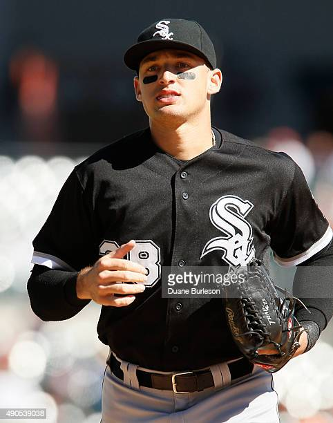 Trayce Thompson of the Chicago White Sox leaves the field at Comerica Park during a game against the Detroit Tigers on September 21 2015 in Detroit...
