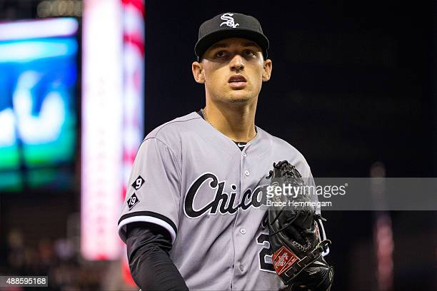 Trayce Thompson of the Chicago White Sox looks on against the Minnesota Twins on September 2 2015 at Target Field in Minneapolis Minnesota The Twins...
