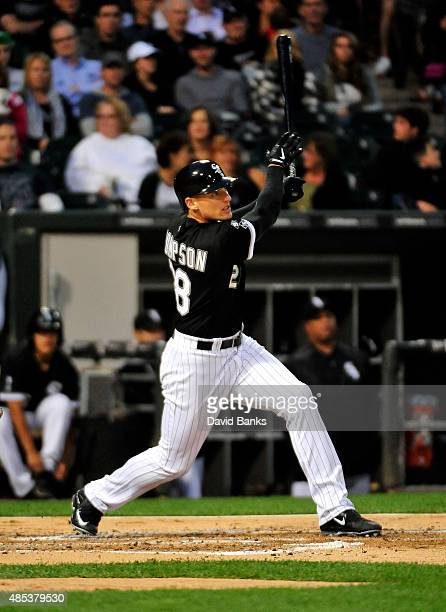 Trayce Thompson of the Chicago White Sox plays against the Boston Red Sox on August 25 2015 at US Cellular Field in Chicago Illinois