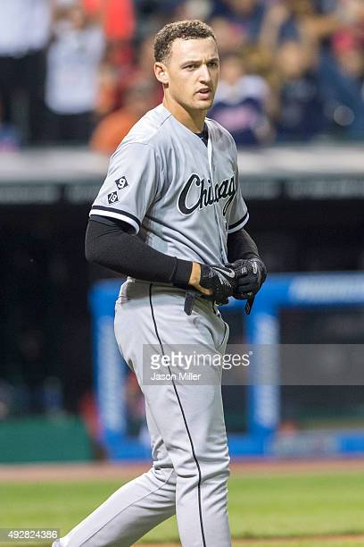 Trayce Thompson of the Chicago White Sox reacts after striking out during the third inning against the Cleveland Indians at Progressive Field on...