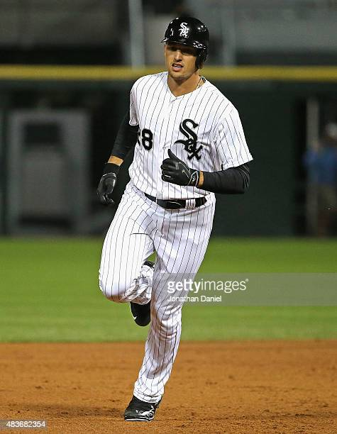 Trayce Thompson of the Chicago White Sox runs the bases after hitting his first Major League home run in the 5th inning against the Los Angeles...
