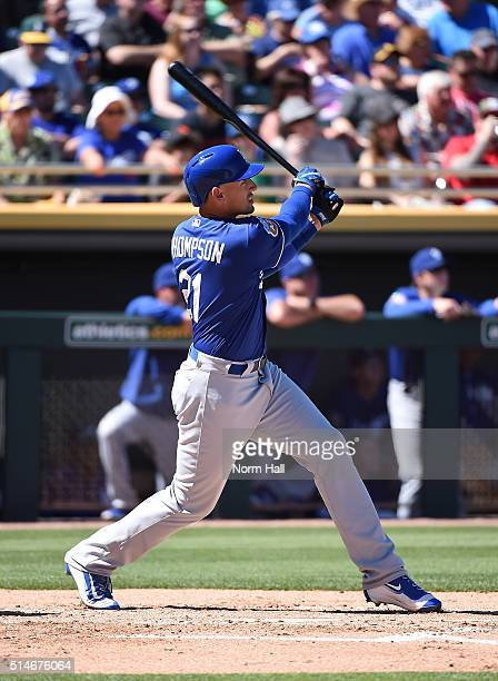 Trayce Thompson of the Los Angeles Dodgers hits a two run home run during the first inning against the Oakland Athletics at HoHoKam Stadium on March...