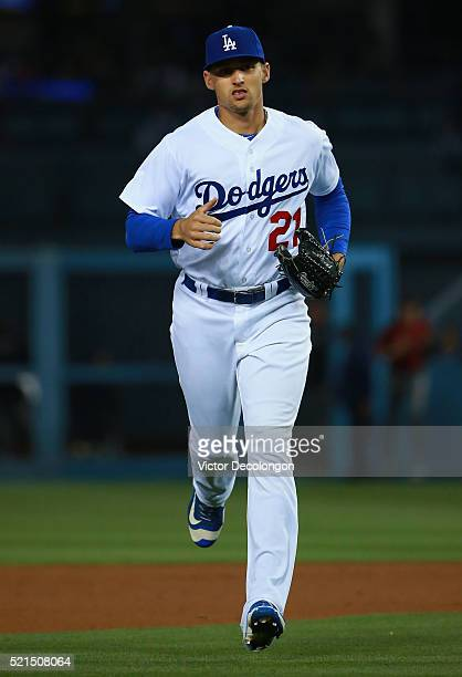 Trayce Thompson of the Los Angeles Dodgers jogs back to the dugout after the eighth inning during the MLB game against the Arizona Diamondbacks at...