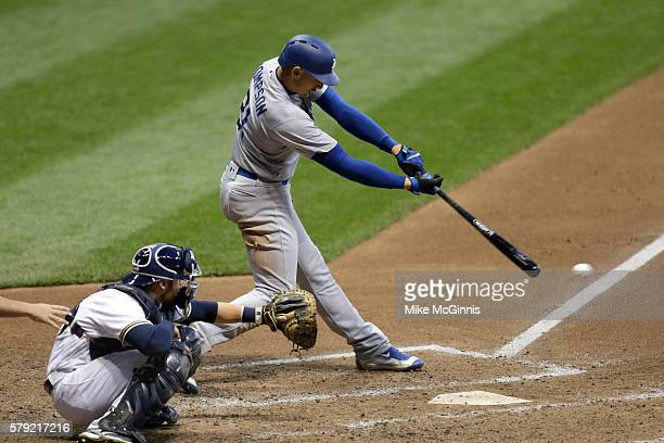Trayce Thompson of the Los Angeles Dodgers makes some contact at the plate during the game against the Milwaukee Brewers at Miller Park on June 28...