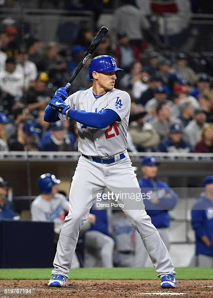 Trayce Thompson of the Los Angeles Dodgers plays during a baseball game against the San Diego Padres at PETCO Park on April 5 2016 in San Diego...