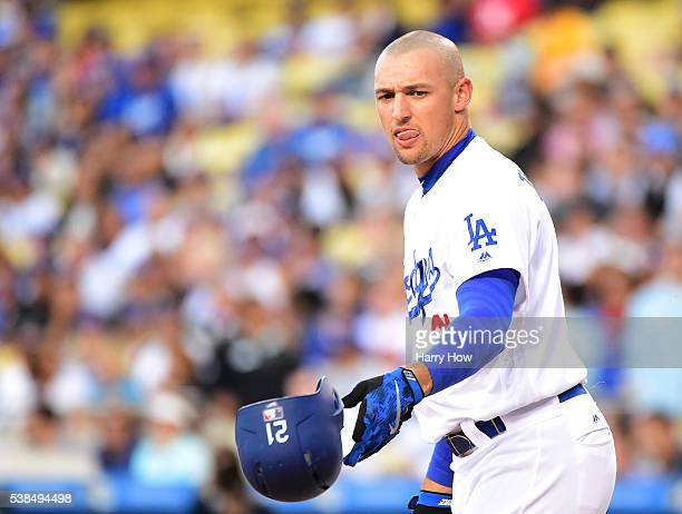 Trayce Thompson of the Los Angeles Dodgers reacts to his strikeout during the first inning against the Colorado Rockies at Dodger Stadium on June 6...