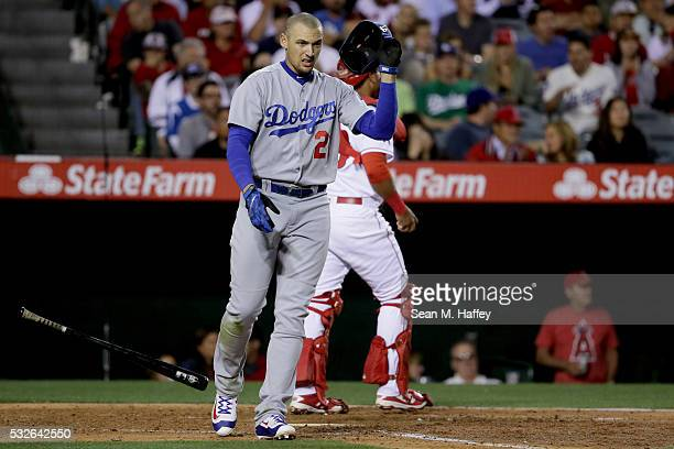 Trayce Thompson of the Los Angeles Dodgers reacts to striking out during the fourth inning a baseball game between the Los Angeles Angels of Anaheim...