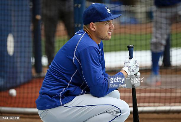 Trayce Thompson of the Los Angeles Dodgers warms up before the game against the Milwaukee Brewers at Miller Park on June 29 2016 in Milwaukee...