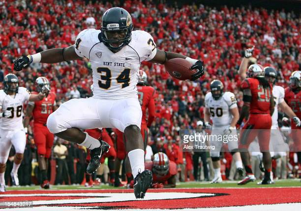 Trayion Durham of the Kent State Golden Flashes celebrates a touchdown against the Rutgers Scarlet Knights at High Point Solutions Stadium on October...