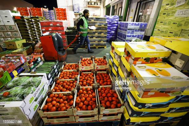 Trays of fresh tomatoes at New Covent Garden Market wholesale market in London, U.K., on Wednesday, Sept. 29, 2021. As hauliers and retailers adapt...