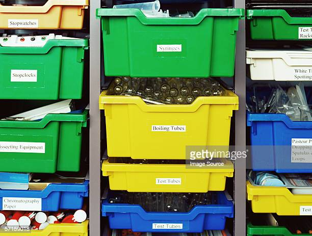 Trays of science equipment