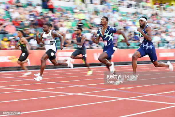 Trayvon Bromell, Ronnie Baker and Fred Kerley cross the finish line in the Men's 100 Meter Final on day three of the 2020 U.S. Olympic Track & Field...
