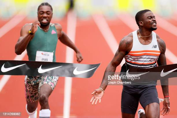 Trayvon Brommell beats Noah Lyles in the 100 meter final during the USATF Grand Prix at Hayward Field on April 24, 2021 in Eugene, Oregon.