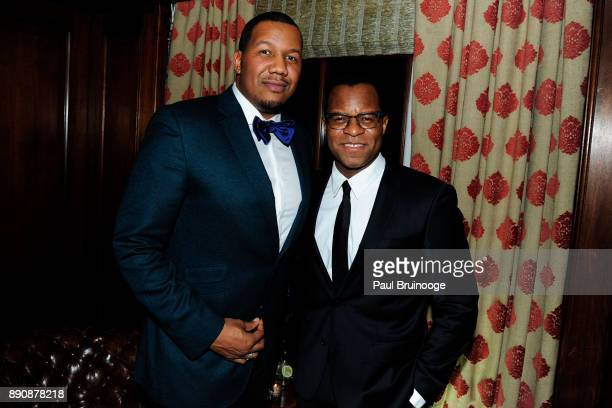 Trayvon Free and Geoffrey Fletcher attend the New York premiere of 'Phantom Thread' After Party at Harold Pratt House on December 11 2017 in New York...