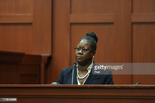 Trayvon Martin's mother Sybrina Fulton takes the stand during the George Zimmerman trial in Seminole circuit court July 5 2013 in Sanford Florida...