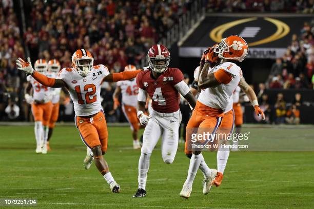 Trayvon Mullen of the Clemson Tigers makes a second quarter interception against the Alabama Crimson Tide in the CFP National Championship presented...
