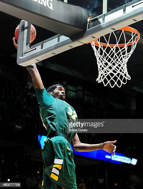 TrayVonn Wright of the North Dakota State Bison goes up against the San Diego State Aztecs in the first half during the Third Round of the 2014 NCAA...