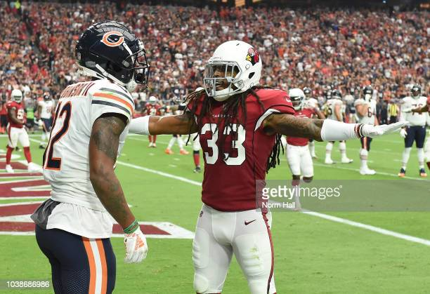 Tre Boston of the Arizona Cardinals gestures after an incomplete pass to Allen Robinson II of the Chicago Bears during the first half at State Farm...