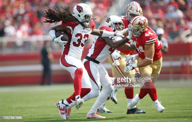 Tre Boston of the Arizona Cardinals returns an interception during the game against the San Francisco 49ers at Levi Stadium on October 7 2018 in...