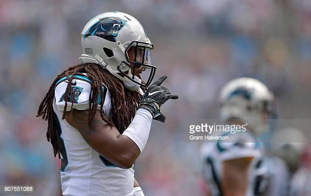 Tre Boston of the Carolina Panthers reacts after breaking up a pass by the San Francisco 49ers during the game at Bank of America Stadium on...