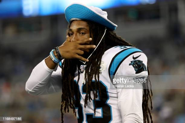 Tre Boston of the Carolina Panthers reacts against the Buffalo Bills in the second half during the preseason game at Bank of America Stadium on...