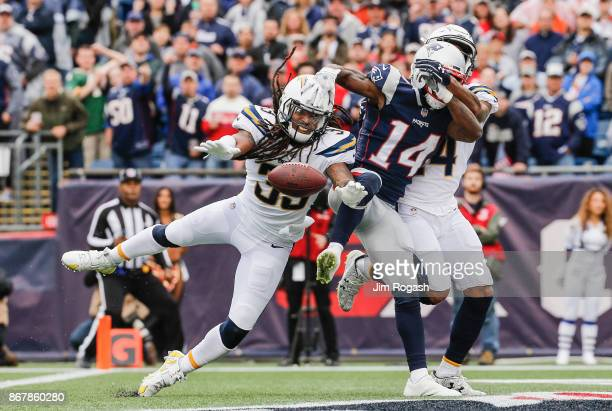 Tre Boston of the Los Angeles Chargers blocks a pass intended for Brandin Cooks of the New England Patriots during the second quarter of a game at...