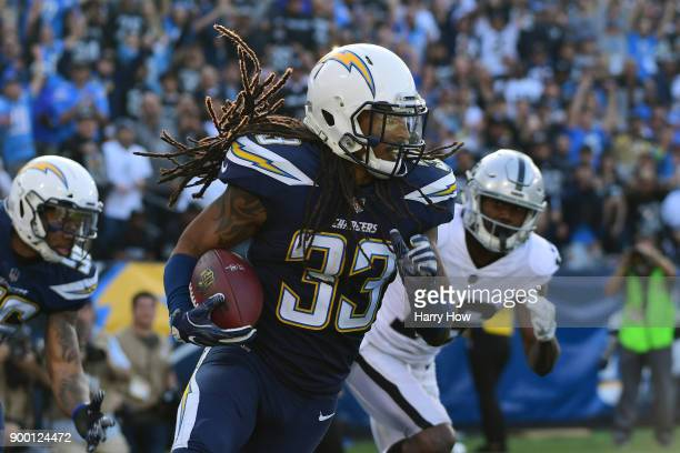 Tre Boston of the Los Angeles Chargers runs down field during the of the game against the Oakland Raiders at StubHub Center on December 31 2017 in...