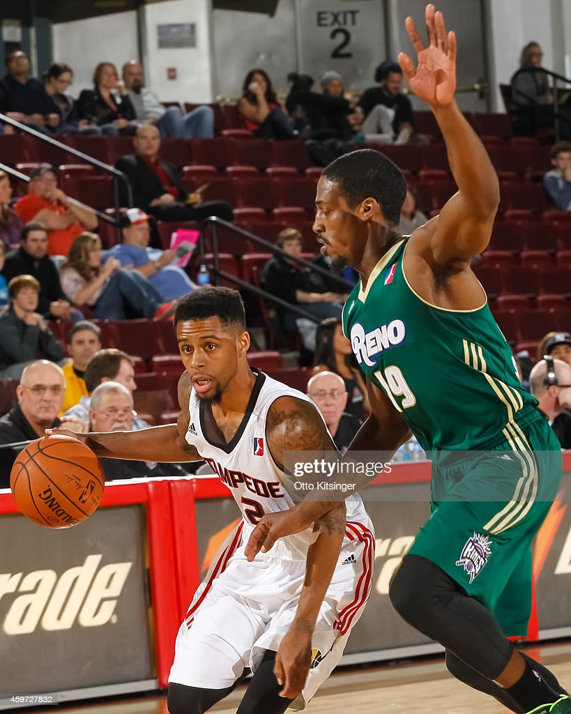 Tre Bussey #12 of the Idaho Stampede handles the ball against the Reno Bighorns during an NBA D-League game on November 28, 2014 at CenturyLink Arena in Boise, Idaho.