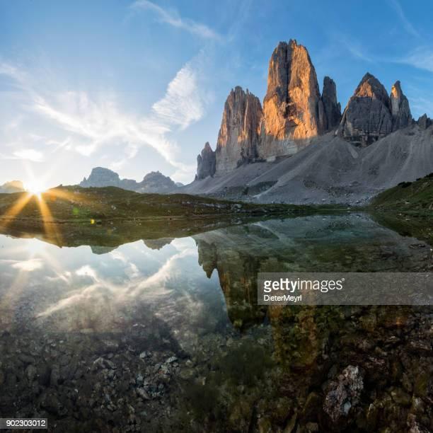 tre cime -  dolomite alps, italy - dolomiti foto e immagini stock