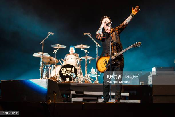 Tre Cool and Billie Joe Armstrong members of the band Green Day performs live on stage at Arena Anhembi on November 3 2017 in Sao Paulo Brazil