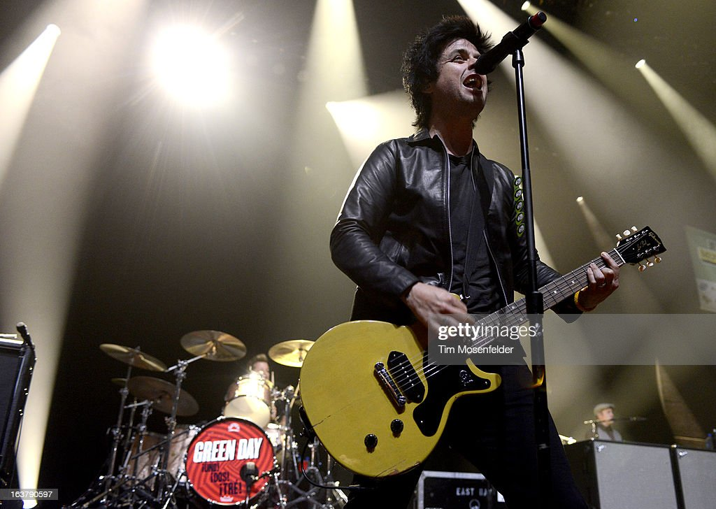 Tre Cool (L) and Billie Joe Armstrong of Green Day perform at ACL Live on March 15, 2013 in Austin, Texas.