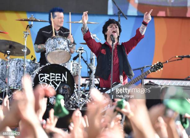 Tre Cool and Billie Joe Armstrong of Green Day Perform On ABC's Good Morning America at Central Park on May 19 2017 in New York City