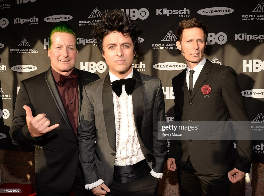 Tre Cool, Billie Joe Armstrong and Mike Dirnt attend the 30th Annual Rock And Roll Hall Of Fame Induction Ceremony at Public Hall on April 18, 2015 in Cleveland, Ohio.