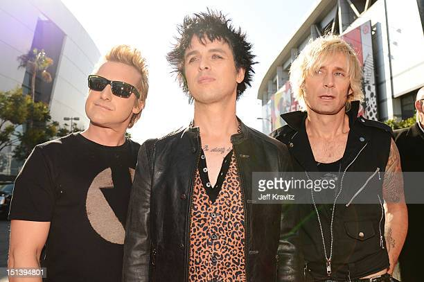 Tre Cool Billie Joe Armstrong and Mike Dirnt of Green Day arrive at the 2012 MTV Video Music Awards at Staples Center on September 6 2012 in Los...