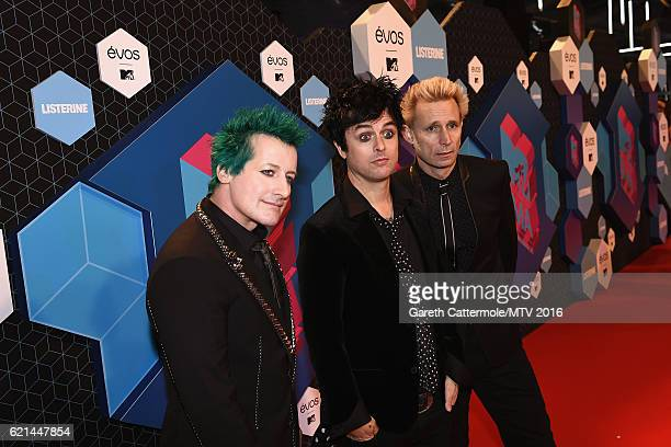 Tre Cool Billie Joe Armstrong and Mike Dirnt of Green Day attend the MTV Europe Music Awards 2016 on November 6 2016 in Rotterdam Netherlands