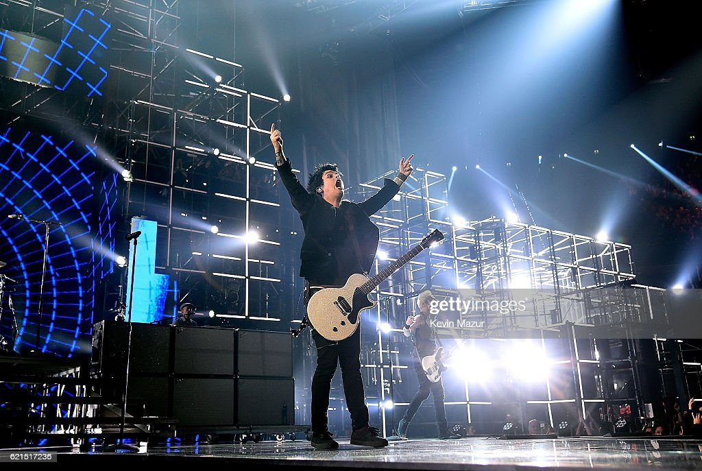 Tre Cool, Billie Joe Armstrong and Mike Dirnt of Green Day performs on stage at the MTV Europe Music Awards 2016 on November 6, 2016 in Rotterdam, Netherlands.
