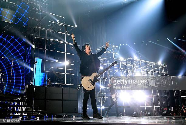 Tre Cool Billie Joe Armstrong and Mike Dirnt of Green Day performs on stage at the MTV Europe Music Awards 2016 on November 6 2016 in Rotterdam...