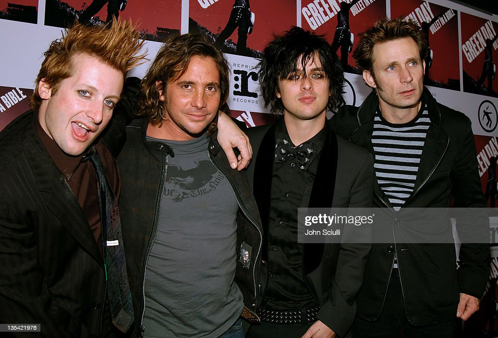 Tre Cool, Billie Joe Armstrong and Mike Dirnt of Green Day with Samuel Bayer, director of 'Bullet in a Bible'