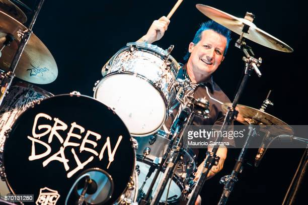 Tre Cool member of the band Green Day performs live on stage at Arena Anhembi on November 3 2017 in Sao Paulo Brazil