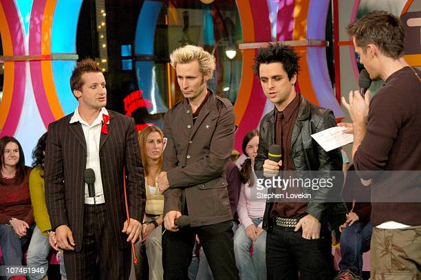 Tre Cool Mike Dirnt Billie Joe Armstrong and TRL's Damien Fahey