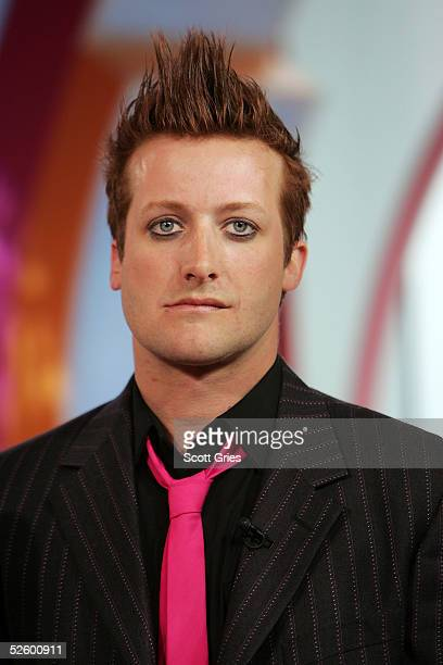 Tre Cool of Green Day appears on stage during MTV's Total Request Live at the MTV Times Square Studios April 7 2005 in New York City