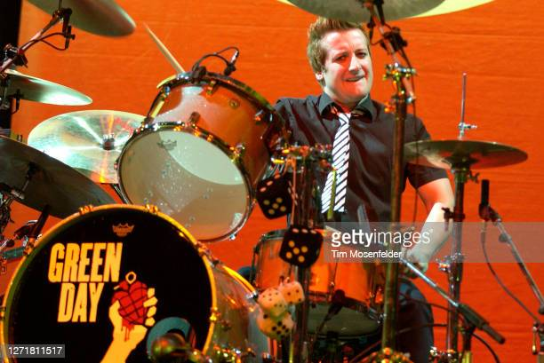 Tre Cool of Green Day performs at Save Mart Center on October 1, 2005 in Fresno, California.
