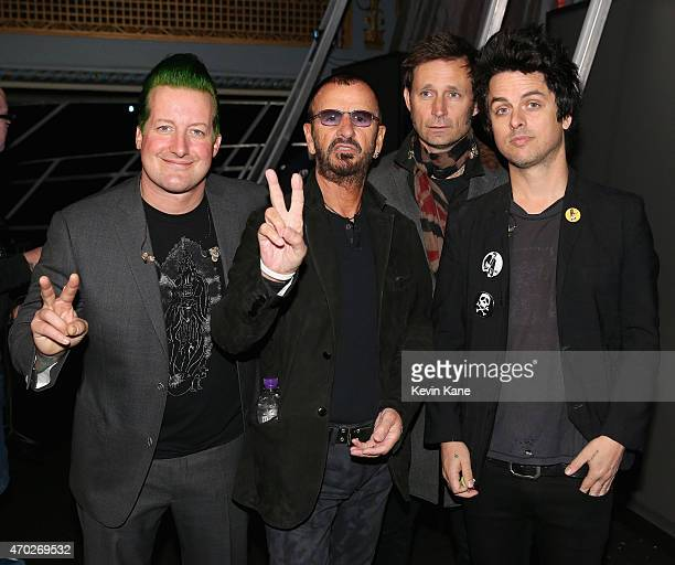 Tre Cool Ringo Starr Mike Dirn and Billie Joe Armstrong attend the 30th Annual Rock And Roll Hall Of Fame Induction Ceremony at Public Hall on April...